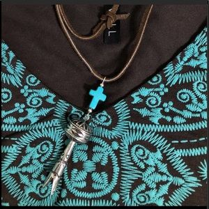 CowgirlZ at HEART Jewelry - SQUASH BLOSSOM TURQUOISE CROSS LEATHER NECKLACE